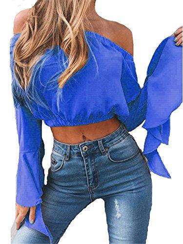 nu Mode sexy YOGLY t Chic shirt Col Manches paule top Casual haut dos court vas Bateau longues Bleu Femme qr74rYXR