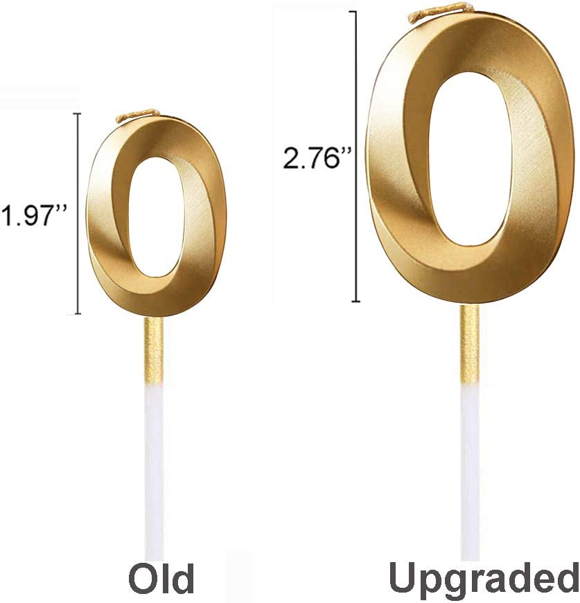 Wuianio 2.76 Extended XXL Large Gold Glitter Happy Birthday Long Numbers Candles 3D Design Cake Topper Decoration for Adults//Kids Party Wedding Blue, 0