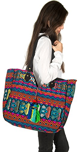 Women Large Shoulder Tote Bag Woven Canvas Casual Handbag Shopping Red Blue Hippie Unique Style by Tribe Azure Fair Trade