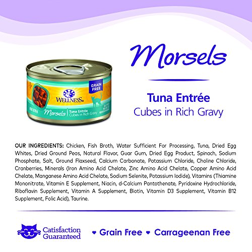 Wellness Natural Grain Free Wet Canned Cat Food, Morsels Tuna Entrée, 3-Ounce Can (Pack of 24)