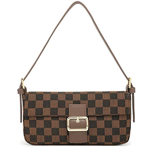 Miracle Women's Vintage Shoulder Bag | Purse with Credit Card Slots | Cross Body Clutch (brown checkered)