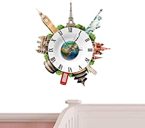 JUCK DIY Frameless Wall Clock, 3D Wall Stickers Clock Large Easy to Assemble Modern Design Roman Numerals Stickers for Home School Office (Color : Landmarks)
