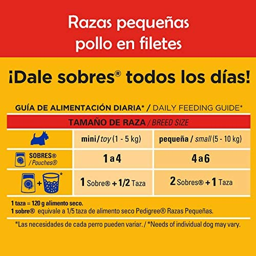 PEDIGREE alimento húmedo para Perros Adultos de Razas Pequeñas. Sabor: Pollo en Filetes. Contiene 10 Sobres 3