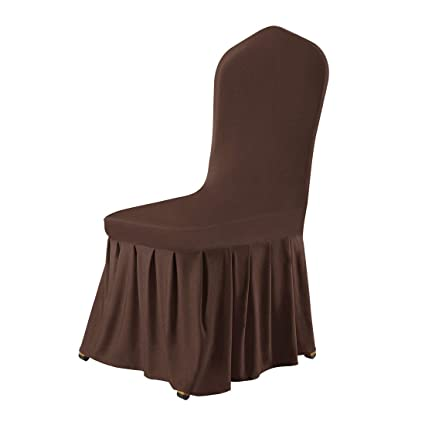 Uxcell Stretch Spandex Round Top Dining Room Chair Covers Long Ruffled Skirt Slipcover For Wedding Banquet Party Chair Covers Coffee Color 1pc