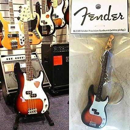 Amazon.com: Llavero Guitarra Bass Fender Precisión Sunburst ...