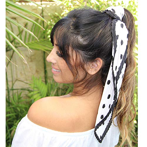 Original Scarfs for Women Lightweight Pleated Silk Scarf for Hair. Fashion Silk Bandana Headbands Square Neckerchief. (Lucy)