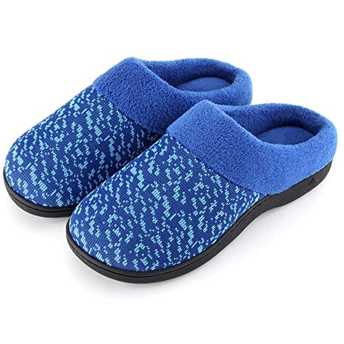 Wishcotton Women's Slip On Knit Memory Foam Slippers French Terry Lining Indoor/Outdoor House Shoes,Dark Blue,7-8 M US