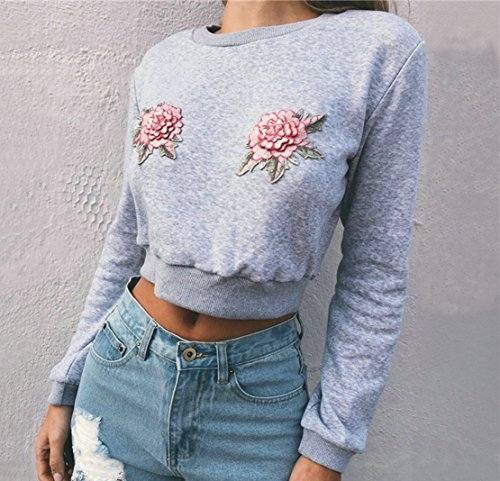 Fashions Gris Haut Broderie Crop Unique Pulls Sweat Chemisiers Sweaters Longues Jumpers Tops Manches Shirts Casual Femme Court fcRvAdqwR