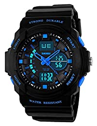 Reloj deportivo digital para niños clásico, de moda, con luz LED impermeable de 50 m, para niños, adolescentes, niños y niñas, con alarma, cronómetro, temporizador, reloj de regalo, Azul