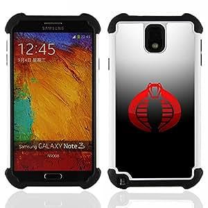 BullDog Case - FOR/Samsung Galaxy Note3 N9000 N9008V N9009 / - / Red Cobra /- H??brido Heavy Duty caja del tel??fono protector din??mico - silicona suave
