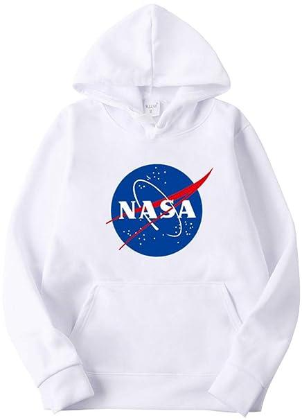 OLIPHEE Felpe con Cappuccio Colorati Stampa di NASA per Fans del Aerospaziale per Ragazzi e Uomo