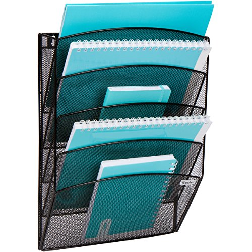 Mesh Wall Mounted Document and File Organizer - 5 Tier Magazine Rack, Mail Sorter Tray - Works with A4 Letters, Folders, Files, Notebooks, Binders, and More