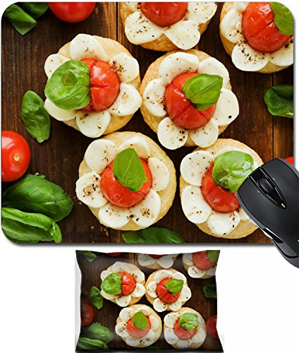 Tomato Mozzarella Pizza - MSD Mouse Wrist Rest and Small Mousepad Set, 2pc Wrist Support design 21685131 Puff pizzas with mozzarella cheese cherry tomatoes and baby basil Viewed