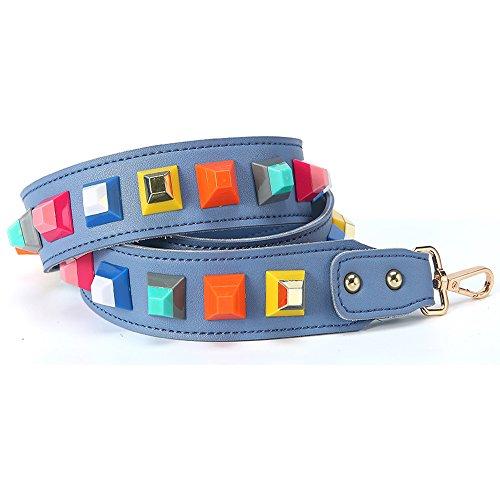 YsinoBear - Bolso mochila  de cuero para mujer Light Green #5 Light Blue #1