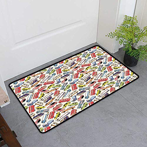 Custom&blanket Non-Slip Door Mat, Cars Decorative Imdoor Rugs for Office, Transport and Logistics Theme with Lorry Cargo Truck Muscle Car and Taxi Boy Toys (Multicolor, H20 x W32)
