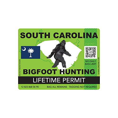 South Carolina Bigfoot Hunting Permit Sticker Die Cut Decal Sasquatch Lifetime FA Vinyl