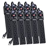 CyberPower CSB6012MP10 Surge Protector 6-Outlets 12-Ft Cord 1200 Joules, 10 Pack