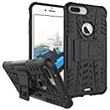 ImagineDesign Defender Tough Hybrid Armour Shockproof Hard PC + TPU with Kick Stand Rugged Back Case Cover for Apple iPhone 8 Plus / iPhone 7 Plus (5.5 inch screen) - Black