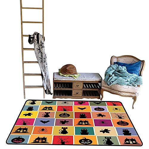 Non-Slip Floor mat,Bats Cats Owls Haunted Houses in Squraes Halloween Themed Darwing Art 5'x6',Can be Used for Floor Decoration