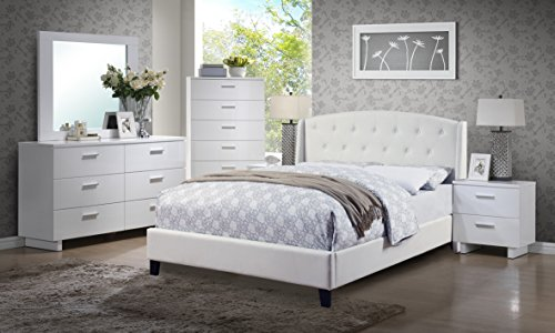 Classic Beautiful Bedroom Furniture 4pc Set White Eastern King Size Bed w Tufted HB Dresser Mirror Nightstand Relax Bonded Leather Panel Insert (Bedroom King Size Table)