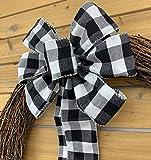 "Black White Buffalo Plaid Ribbon - 2 1/2"" x 10"