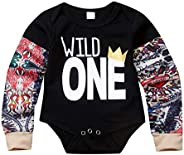 puseky Newborn Baby Tattoo Print Long Sleeve Romper Jumpsuit Bodysuit Clothes