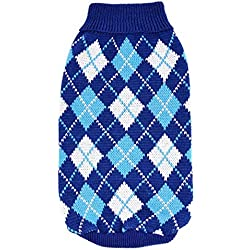 Small Dog Sweater, Voberry® Fashion Pet Puppy Dog Cat Clothes Winter Warm Plaided Costumes Sweater Apparel (S, Blue)