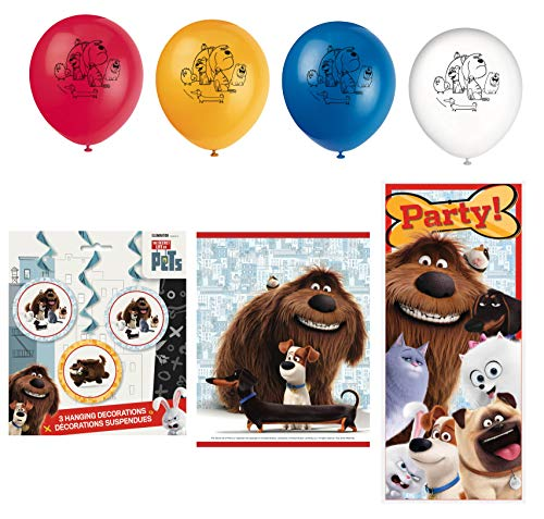 Unique Secret Life of Pets Birthday Party Favors and Decorations | Poster, Balloons, Hanging Swirls and Loot Bags (Secret Life Of Pets Birthday Party Invitations)