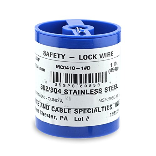 Wire and Cable Specialties MC0410-1#D Safety Lockwire MS20995C41 .041 in (1.04 mm), 1 lb (0.45 kg) Disp, appx 221 ft (30 m)