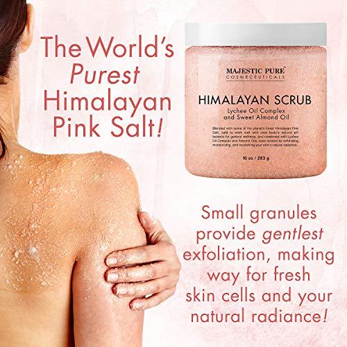 Majestic Pure Himalayan Salt Body Scrub with Lychee Oil, Exfoliating Salt Scrub to Exfoliate & Moisturize Skin, Deep…
