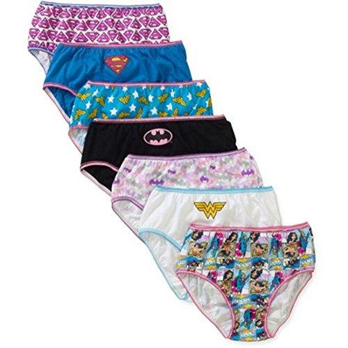 DC Comics Girls' Justice League Logo 7 Pack Panties - Size 8