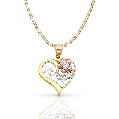 b7c39b8a8ab5 ioka joyas – 14 K Tri Color Oro dulce 15 años quinceañera del encanto del  corazón
