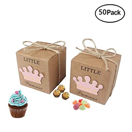 50 Piezas Cajas de Caramelo Dulces Cumpleaños Bombones Baby Shower Favor Cajas de Papel Kraft Caja de dulces Caja de regalo Caja de embalaje(Rosa)