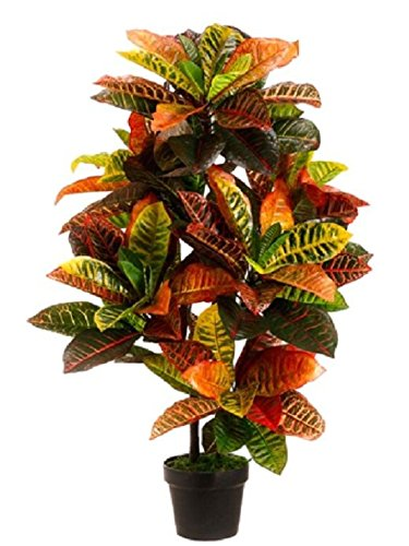 3' Artificial Croton Plant in Pot (Pack of 2) Outdoor UV Topiary Tree Silk Palm by Black Decor Home