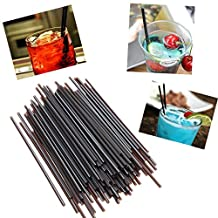 Bazaar 100pcs Plastic Black Drinking Straws Cocktail Juice Straws for Birthday Wedding Party