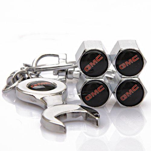 Gmc Valve (GMC Tire Valve Caps with Bonus Wrench Keychain(BW))