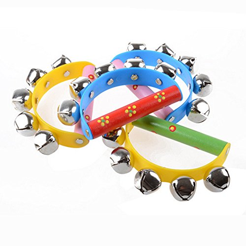 TRENDINAO 1PC Random Color Baby Toddlers Wooden Rainbow Musical Instrument Toy Jingle Ring Handbell Rattle