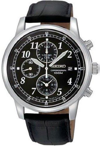 Seiko-Mens-SNDC33-Classic-Black-Leather-Black-Chronograph-Dial-Watch