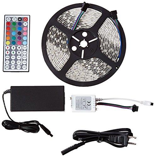 ME LED Light Strip, 16.4ft/5M 300LEDs Waterproof Flexible Color Changing 5050 RGB Lighting Kit, Powered 12V DC, 44 Key Remote Control. For Indoor/Outdoor Decoration