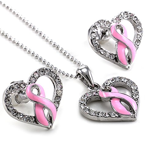 Breast Cancer Awareness Pink Ribbon Bow Heart Necklace Pendant Charm Post Stud Earrings Set