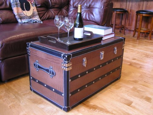 (Decorative Fairfax Large Wood Steamer Trunk Wooden Treasure Hope Chest)
