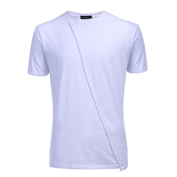 ALIKEEY Agujeros Informales De La Moda Los Hombres Ocasionales Manga Corta con Cuello En V Camiseta