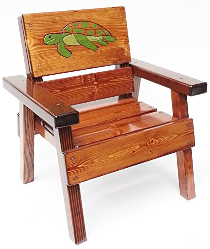 Engraved & Painted Kids Outdoor Wooden Nautical Chair, Patio or Garden Furniture, Green Sea Turtle Design