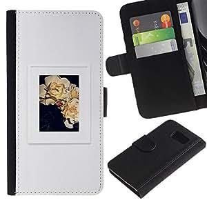 Be Good Phone Accessory // Caso del tirón Billetera de Cuero Titular de la tarjeta Carcasa Funda de Protección para Samsung Galaxy S6 SM-G920 // poster grey floral art frame picture
