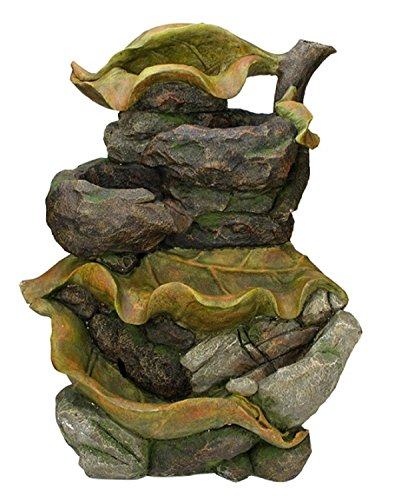 Northlight Brown Orange and Green Mossy Leaves 5-Tier Outdoor Patio Garden Water Fountain, 26.5