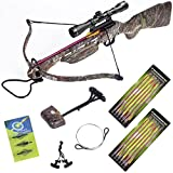 Hunting Crossbow - 150 lb Desert Camouflage Hunting Crossbow +4x32 Scope +14 Arrows +Quiver +3 Broadheads +Rope Cocking Device +Stringer
