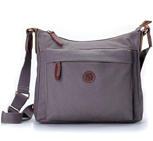 La Poet Women's Small Hobo Shoulder Handbag Crossbody Bag Purse Water Resistant Waxed Canvas Travel (Grey)