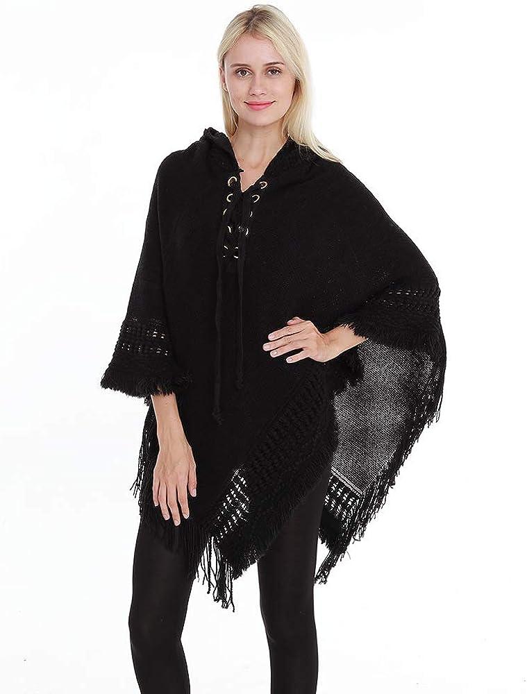 YOUZHILAN Women Knitted Tassels Irregular Hooded Cloak Poncho Capes Shawl Sweater