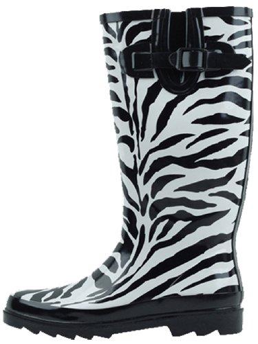 SBC Womens Rain Boots Adjustable Buckle Fashion Mid Calf Wellies Rubber Knee High Snow Multiple Styles Zebra VUvIF