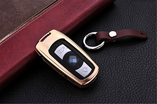 [M.JVisun] Car Key Fob Cover For BMW 3 Series 5 Series 6 Series BMW M3 M5 BMW X1 X5 X6 BMW Z4 Remote Key , Smart Car Key Case Cover Skin , Aircraft Grade Aluminum + Genuine Leather Keychain - Gold